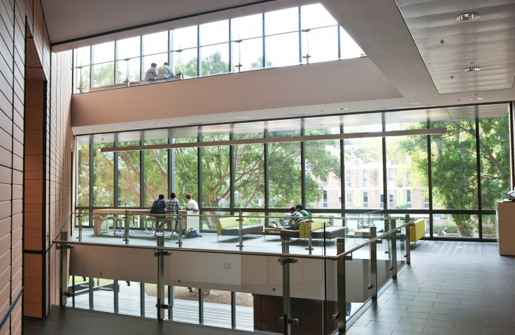 UNSW Tyree Energy Technology student study spaces with glass windows, chairs and tables